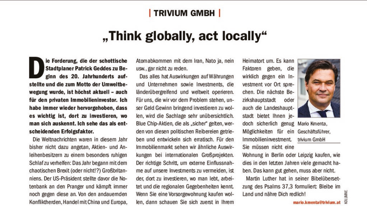 """Think globally, act locally"""